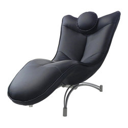 White Line Imports - Dream Black Leatherette Chaise - This modern chaise features a sturdy silver finished frame, padded and upholstered in leatherette cover. The high density of this Dream Black Leatherette Chaise by Whiteline Imports will ensure a plush comfort.