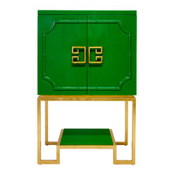 Worlds Away - Worlds Away Anna Cabinet, Green Lacquer/Gold Leaf Base - Offer your guests a drink with the utmost style when you open the elegant doors of this kelly green lacquered bar cabinet. This stunning Hollywood Regency style piece will transport you to a time of sultry cocktail parties, with its gold leaf base and sculpted greek key door pulls, which open to reveal mirrored shelves, for that extra glint of glamour.