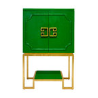 Worlds Away - Worlds Away Anna Cabinet Green Lacquer Gold Leaf Base - Offer your guests a drink with the utmost style when you open the elegant doors of this kelly green lacquered bar cabinet. This stunning Hollywood Regency style piece will transport you to a time of sultry cocktail parties, with its gold leaf base and sculpted greek key door pulls, which open to reveal mirrored shelves, for that extra glint of glamour.