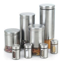 Cook N Home - Cook N Home 8-piece Stainless Steel Canister and Spice Jar Set - Store your spices,pasta,etc. in this wonderful canister set. The finish will enhance any decor,and with 8 sizes you can store most of your needs. The stainless steel is easy to clean and will help keep your food fresh longer.