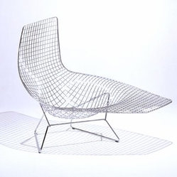 Knoll - Knoll | Bertoia Asymmetric Chaise, Unupholstered - This Bertoia chaise is awesome. Classic vintage construction in a lounger. Put a colorful cushion in the seat for variety.