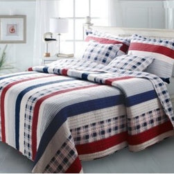 Greenland Home Fashions Nautical Stripe Quilt Set - Land-lubber seems like it would be a less-than-flattering term, but if dry land is where land-lubbers find the Greenland Home Fashions Nautical Stripe Quilt Set, it can't be all that bad. This appealing set features a comforter, a sham or two (depending on the size), and a pair of coordinating throw pillows. Each quilt is made using high-quality cotton that's been pre-washed and pre-shrunk, crafted with an oversized design that's perfect for today's deeper mattresses. The comforter also boasts channel stitching and a mix of solids, stripes, and plaids to show off the rich colors. The reverse side offers an all-over plaid to give you two different looks for the price of one. Matching shams complete the look of this patriotic and fashionable set, offered in several sizes.Product Dimensions:Twin comforter: 88L x 68W in. Full/queen comforter: 90L x 90W in.King comforter: 95L x 105W in.Small sham: 20L x 26W in.Large sham: 20L x 36W in.About Greenland Home FashionsFor the past 16 years, Greenland Home Fashions has been perfecting its own approach to textile fashions. Through constant developments and updates - in traditional, country, and more modern styles – the company has become a leading supplier and designer of decorative bedding to retailers nationwide. If you're looking for high-quality bedding that not only looks great but is crafted to last, consider Greenland.