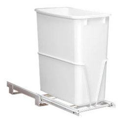 "Rev-A-Shelf - Rev-A-Shelf RV-814PB Single 20 Qt. Pullout Waste Container - White - This 20 Qt. pullout waste unit is designed to fit smaller cabinets where available depth may be an issue, as it has the ability to be installed in two different ways. The slides may be installed at a 8-1/2"" W or turned sideways for installation at a 14-1/2"" W. This item has a sturdy frame, which is made of heavy-duty wire, and features a 20 Qt. white waste bin and 3/4-extension 75lb rated slides. Best of all, it offers an easy bottom mounted installation with just four screws. If you wish to keep your kitchen, bathroom, or office neat and tidy, get your dual configuration Rev-A-Shelf RV-814PB 20 Qt. Pullout Waste Container today! Physical specifications: 8-1/2"" to 14-1/2"" W x 14-9/16"" D x 16-1/2"" H. Please make sure that you have at least 8-5/8"" W to ensure a proper fit."