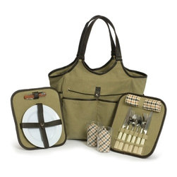 "Picnic Plus - Palmetto 2 Person Picnic Tote, Olive - Picnic Plus Palmetto 2 Person Picnic Tote, Olive. Color/Design: Olive; With large zippered thermal foil lined insulated food compartment in the middle; Abundance of side pockets; Unique removable trays that hold the picnic accessories; Exterior is made from durable 600D polyester with Espresso leatherette trim and carry handles; Includes: Large acrylic drink tumblers, melamine plates, cotton napkins, stainless steel flatware and a wooden handle corkscrew, bottle opener. Dimensions: 12""W x 8""D x 13""H"