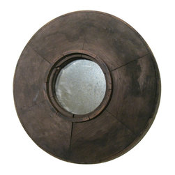 R.T. Facts - Small Powder-Room-Size Rustic Round Mirror - You'll want to get up close to check out the amazing facets of this rustic-looking mirror. The purposely aged and weathered finish will certainly complement any entryway, or serve as a distinct detail in a bathroom. Either way, you — and this mirror — will be looking good.