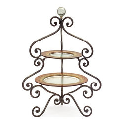 """IMAX - Two-Tier Serving Tray - Exotic metal two tier serving tray with amber glass serving dishes and  marble sphere final Item Dimensions: (25.75""""h x 17""""d)"""
