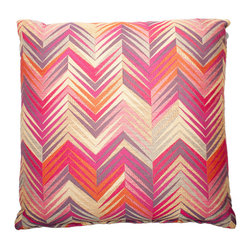 Designer Fluff - Pink Flame Pillow, 15x25 - Add some sizzle to your sofa, bed or bench. This pillow features bright pinks, purples and oranges in a flamed chevron pattern. Made of viscose, polyester, linen and cotton, each pillow has a hidden zipper and comes in your choice of sizes, inserts and edges.
