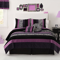 None - Posh Purple 3-piece Comforter Set - Add a truly distinct fashion statement to your bedroom decorating scheme with this Posh Purple rich three-piece comforter set. It features a handcrafted design of pieced fabrics, including sleek satin velour, to create a comfortably feminine pattern.