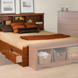 Prepac Furniture - Prepac Monterey Platform Storage Bed with Bookcase Headboard in Cherry - Contemporary in design and style, the Monterey Platform Storage Bed with Bookcase Headboard in Cherry - Prepac Furniture will be the perfect addition to a bedroom with any decor. Headboard features three compartments which provide enough space for bedside reading material, alarm clocks and other things.    This price is for Double Size Bed with Headboard.  Queen Bed size is also available.    Features:
