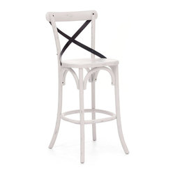 Zuo Modern - Zuo Modern Union Square Era Bar Chair X-22089 - Modeled after the most popular chair in Europe, our versatile X-back bar chair comes in natural, antique black, and antique white. Frame is solid wood with antique metal accents.