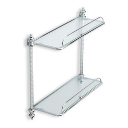 StilHaus - Double Glass Bathroom Shelf, Chrome - Brass structure with 2 crystal glass shelves.
