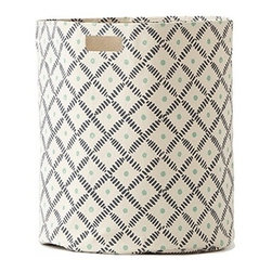 Pehr Indigo/Grass Weave Canvas Storage Hamper - This whimsical hamper in squiggly indigo blue and grass green horizontal lines print is unique and durable. Made from 100% Heavy weight cotton canvas and machine washable. Just one of many prints to choose from, the Petite Pehr Alphabet Hamper will fit perfectly into your child's room.