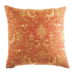 """Canaan - 24"""" x 24"""" Angelique Salmon Victorian Damask Pattern Throw Pillow - Angelique salmon Victorian damask pattern throw pillow with a feather/down insert and zippered removable cover. These pillows feature a zippered removable 24"""" x 24"""" cover with a feather/down insert. Measures 24"""" x 24"""". These are custom made in the U.S.A and take 4-6 weeks lead time for production."""