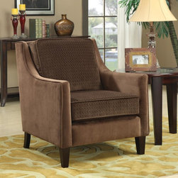 Coaster - Brown Transitional Accent Chair - With cushions wrapped in an embossed basket-weave microvelvet, feel and see the essence of comfort. Legs in cappuccino.