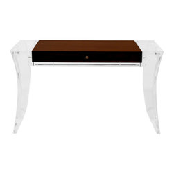 """Phnom Penh Acrylic Desk - Solid optical grade clear acrylic construction with wooden box and drawer inset. Shown 60"""" x 23"""" x 31""""h. Also standard in 54"""" and 66"""" widths. Available to any dimensions and specifications. Available as any type of table ie. dining table, console table etc."""