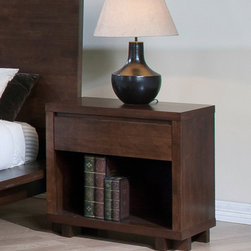 None - Harvey 1-drawer Nightstand - The Harvey nightstand offers contemporary styling and a single-drawer design. This nightstand also features a durable wood construction with a rich, wenge finish and integrated drawer pulls.