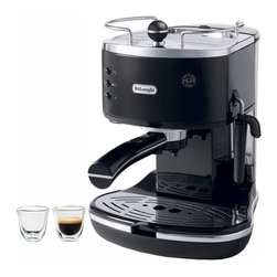 DeLonghi - Icona Black & Stainless Steel Pump Espresso Maker with Espresso Glasses - The DeLonghi ECO310BK-2-KIT includes the Icona 15-bar pump driven Espresso/Cappuccino maker, in black, and two 2-Ounce espresso glasses. The Icona Espresso/Cappuccino Maker features a Dual-Function filter holder which accommodates two separate attachments. The patented Sempre Crema filter, used with two measures of ground coffee, enhances the brewing process to produce a perfect crema. The Easy Serving Espresso (E.S.E) filter, used with pods or one measure of ground coffee, makes espresso preparation simple and convenient. The adjustable cappuccino frother includes a special chamber that mixes steam and milk to create a rich creamy froth. Additional features include a Built-In tamper, 48-Ounce removable water tank, stainless-steel boiler, cup warmer and removable drip tray. The espresso glasses are comfortable to hold, dishwasher safe and the double wall also prevents condensation and excess heat from reaching your hands. Kit includes Espresso/Cappuccino maker and 2 espresso glasses.