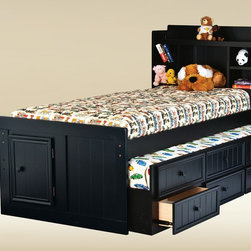 Twin Size Combo Trundle with 3 Drawers in Optional Finish - Nice wood trundle bed for your little kids.