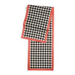 Black & White Knit Houndstooth Custom Table Runner - Set a table for a king! or just your family and friends!! with our gorgeous Tailored Table Runner. Solid edging adds a touch of refinement, perfectly setting off the center fabric. We love it in this chunky knit black and white houndstooth. Perfect for adding cozy texture to any aesthetic from modern to traditional.