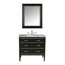 "36� Whitney Single Sink Vanity in Black Finish With Italian Carrara White Marble - The ideal choice for a contemporary home, the 36"" Whitney Single Sink Vanity is striking with its clean lines and fresh, simplistic design. The ebony-finish, solid-wood vanity provides a crisp and bold contrast with the Italian Carrara white marble top. Sleek aluminum hardware adorns the unit""s three sizeable drawers, which provide an impressive amount of storage space for towels and toiletries."