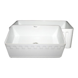Whitehaus Collection - White Whitehaus WHFLATN3018 Single Bowl Fireclay 30'' Farmhouse Apron Front - The Benefits of an Authentic farmhouse sink. The Quality of the Finish - The glazing of the sink surface provides both durability and shine over long periods of time. The raw material used fine fireclay allows for uniformity in the finish.  Durability - The sinks glaze is practically impervious to threatening bacteria from food preparation. Stains do not penetrate the glaze and can be easily wiped away. Acids and chemical cleaners have virtually no adverse effect on sink. Coffee stains cigarette burns and other daily occurances that would adversely effect kitchen sinks made from other materials are easily wiped away on fireclay sinks. Scratches - These sinks are not adversely affected by scratches from pots pans knifes etc. Thermal Shock - Thermal Shock (very hot or very cold water) has no effect whatsoever on the sink.