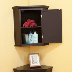 None - Bayfield Espresso Shutter Door Corner Wall  Cabinet - Organize your hygiene gear,medicines,and other items easily when you put them in this wooden wall cabinet. The cabinet has a fixed shelf and an adjustable shelf in the interior,as well as a shuttered door adorned with chrome knobs.