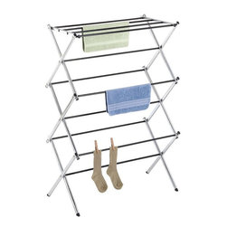 "Home Decorators Collection - Deluxe Chrome Folding Drying Rack - Air-dry your sweaters and delicates with the Deluxe Chrome Folding Drying Rack. This stable rack features plenty of rungs for multiple items, has a sturdy metal construction and when it's not needed, will fold flat for convenient storage and organization. Order this item for a tidier home decor.Made of metal with vinyl laminated steel bars in a chrome finish.Each bar provides 24"" of hanging space.It folds easily, is lightweight and perfect for traveling."