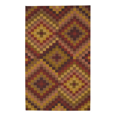 Sunshine & Shadow rug in Cranberry - Fine flat-woven antique kelim construction composed of 50% India Chokla wool and 50% blended wool for superior durability. Inspired by Colonial American designs.