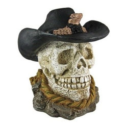 Cool Western Cowboy Human Skull Statue Figure Old West - This wickedly cool Western Cowboy skull figure / statue has a weathered, textured finish finish. Made of cold cast resin, the figure wears a cowboy hat with a rattlesnake hat band, and is resting ato a coiled rop on a base of stones. The skull stands 11 1/2 inches tall, is 10 1/2 inches deep, and 8 3/4 inches wide. It makes a great Halloween decoration, and is a great gift for any skull lover.