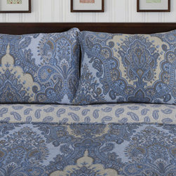 None - Waverly Traditional Paisley 3-piece Cotton Quilt Set - Exotic and unique,this on-trend Waverly quilt and sham set displays a charming oversized paisley pattern in shades of navy and beige. A machine washable construction and soft cotton design make this bedding perfect for any room.