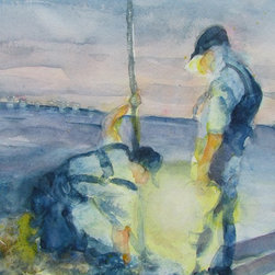 """""""Clam Diggers"""" Artwork - Two clam diggers working the beach as nightfall approaches. the lanterns light bounces off their profiles casting goastly shadows on the sand. lights from the condos across the sound twinkle on the horizon. the tide is coming in, they must work quickly. . the painting is executed masterfully in both gouache and transparent watercolors done in a painterly, loose style. perfect addition to any beach home or seascape theme."""