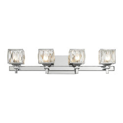 Golden Lighting - 4-Light Bath Vanity - Includes four 40 watt halogen bulb. Modern geometric form pairs with classic crystals creating a dramatic transitional style. Genuine cut crystals, which refracts light for an elegant gleam. Halogen bulbs are encased in faceted glass diffusers. Can be used in halls, stairways, bathrooms and as an accent. UL listed for damp location. Made from iron and crystal. Metallic chrome finish. Fixture width: 27 in.. Wire length:  8 in.. Fixture height: 5.75 in.. Shade: 4.25 in. Dia. x 3.5 in. H. Backplate: 7.5 in. W x 4.75 in. H. Fixture extension: 5.25 in.. Fixture weight: 4.4 lbs.