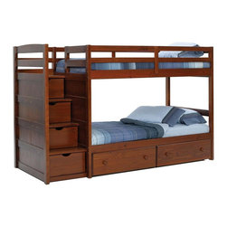 Chelsea Home - 100 in. Twin Over Twin Stair Bunk Bed - NOTE: ivgStores DOES NOT offer assembly on loft beds or bunk beds.. Includes two underbed storage drawers. Mattresses not included. Rustic style. Hand stain finished with three step process to compliment the natural wood grain. Rails connect to the bed ends by a metal to metal machine bolt and t-nut for a secure hold. Meet and exceed all of the following rules: ASTM F-1427-07, CFR 1213, CFR1513 and lead testing. Constructed for strength and durability. Warranty: One year. Made from solid plantation-grown pine wood. Dark finish. Made in Brazil. Assembly required. 100 in. L x 43 in. W x 64 in. H (228 lbs.). Bunk Bed Warning. Please read before purchase.Warning: Falling hazard, bunk beds should be used by children 6 years of age and older!