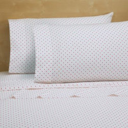 Royale Linens, Inc. - Cotton Percale 200 Thread Count Sheet Set in Pink Dot - Bold or bright, this simple, yet elegant sheet set will give your bed a modern look with a pop of vibrant color. Soft and smooth to the touch.