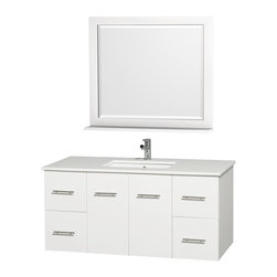 "Wyndham Collection - Wyndham Collection 48"" Centra White Single Vanity w/ Square Porcelain Sink - Simplicity and elegance combine in the perfect lines of the Centra vanity by the Wyndham Collection. If cutting-edge contemporary design is your style then the Centra vanity is for you - modern, chic and built to last a lifetime. Available with green glass, or pure white man-made stone counters, and featuring soft close door hinges and drawer glides, you'll never hear a noisy door again! The Centra comes with porcelain sinks and matching mirrors. Meticulously finished with brushed chrome hardware, the attention to detail on this beautiful vanity is second to none."