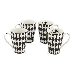 Cardew Design - Black & White Harlequin Bone China Mug - Set of Four - Perfect for tea lovers of all ages, this charming set serves up Earl Grey with a dash of whimsy. Featuring very fine bone china construction, they remain super sturdy and easy to clean. �� Includes four mugs Holds 15 oz. Porcelain Hand wash Imported