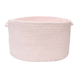 """Colonial Mills - Blokburst Chenille Storage Basket - Blush Pink, 14"""" x 10"""" - A braided storage basket in colors to love for any room. Made of soft blush pink chenille, it's built to organize yarn in the craft room to diapers in the nursery."""