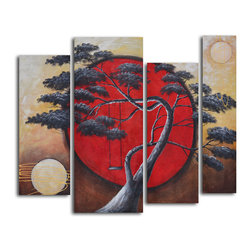 Crimson sun, midnight moon Hand Painted 4 piece canvas set - The sun also rises over this group of paintings. Against a backdrop of a solid red sun and warm sky, this surreal black and white tree beckons you to climb onto the swing and become a child again. This cluster of paintings will look especially magnetic on that exposed brick wall in your industrial loft.