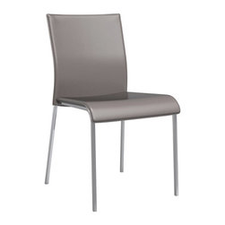 Calligaris - Easy Leather Chair, Satin Frame, Optic White Seat, Set of 2 - Satin Finished Steel Legs