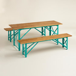 """Blue Beer Garden Outdoor Dining Collection - The warmth of wood is so """"now,"""" but that aqua tone is so retro chic! This is a great set for casual outdoor dining."""