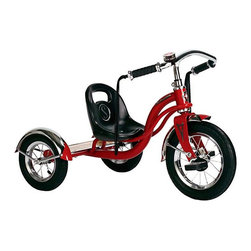 Schwinn - Schwinn Roadster Tricycle - Red Multicolor - S6760 - Shop for Tricycles and Riding Toys from Hayneedle.com! Boys and girls alike will have the time of their lives cruising from one spot to the next on the Red Schwinn Roadster Tricycle. The saddle seat is adjustable to change as they do and the extra-low center of gravity helps prevent tipping over no matter how wild their adventures may get. The pneumatic tires provide a smooth-as-silk ride even outdoors and scalloped fenders over the tires add a fun retro flavor. Custom mustache handlebars add the finishing retro touch. This tricycle is classically constructed of heavy-duty steel and the back deck is made of real wood and features a burned-in logo. Your child will love the vibrant look and fun features and you'll love its nostalgic charm. About SchwinnCall it a 113-year-long second childhood. The folks at Schwinn just plain love to ride. Their eyes light up at the mere mention of the word the scent of bicycle chain lube makes them giddy the clicking of a freehub well it gives them goose bumps. It's been that way for them for 113 years and they want you to feel that same cycling passion. From the full-on rocket ships and rugged commuters of their road bike line to the classic cruisers and bomb-proof mountain and BMX bikes and all the way down to the pint size sidewalk models these Schwinn bicycles are guaranteed to get your heart racing and your spirit soaring. Schwinn: it's for life.