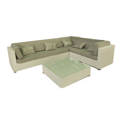 janus court designs - Olivia Outdoor Sectional, White Wicker/Beige Fabric - Olivia 5 piece Outdoor Sofa sectional (including table )