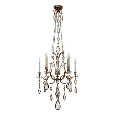 Fine Art Lamps - Encased Clear Crystal Gems Chandelier, 708640-3ST - Bring some drama and dazzle to the room with this eclectic chandelier dripping with encased crystal gems in multiple shapes. Tapered candelabra lights provide an atmospheric radiance that twinkles among the faceted gems.