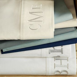 PB Classic 400-Thread-Count Sheet Set, Twin, Dark Porcelain Blue - This 400-thread-count combed cotton sheeting is supremely soft, versatile and elegant, especially with a monogram or initial embroidered along the hem in your choice of font and color. Made of pure cotton percale. 400-thread count. Oeko-Tex certified Yarn dyed for vibrant, lasting color. Set includes flat sheet, fitted sheet and two pillowcases (one with twin). Extra pillowcases are also available in sets of 2. Machine wash. Imported.