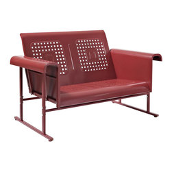 Crosley Furniture - Veranda Loveseat Glider in Coral Red - Sturdy Steel Construction. Easy To Assemble. UV Resistant. Smooth glide rocking mechanism. Indoor/Outdoor Construction. 31 in. W x 52 in. D x 33 in. H (84 lbs.)