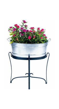 """Achla - Oval Glavanized Steel Tub Planter - Measuring 20.5"""" by 15"""" and 9.5"""" deep, this lovely handled Oval Galvanized Steel Tub Planter adds a touch of country to your garden.  Durable and water resistant Galvanized Steel construction makes this Oval Tub perfect for your favorite potted plants.  A beautiful oval shaped steel tub that strays a bit from the conventional round steel tub, but is nonetheless striking and appealing to the eye.  The oval shape accents plants and flowers while the galvanized steal construction lends to the tub's durability.  This steel planter gives your patio or backyard a kind of country appeal. * 20.5 in. L x 15 in. W x 9.5 in. D. Durable and water resistant Galvanized Steel construction. Stand not included"""