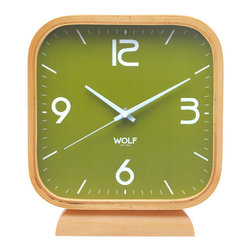 "WOLF - 8.5"" Square Mantel Clock, Green - Simplicity and minimalism characterize this square, wood-framed mantel clock. This stark, contemporary design features an 8.5"" white dial contrasted with black hands and sans-serif numbering for easy readability."