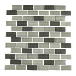 "GlassTileStore - Smoke Blend 1x2 Glass Tile - Smoke Blend 1x2 Glass Tile          Using this stunning tile in shades of gray will make any room feel elegant and classic, but not boring. With the classic brick pattern these glass tiles will give a luminescent quality to any bathroom, kitchen, or pool installation. The mesh backing not only simplifies installation, it allows the tiles to be separated which adds to their design flexibility.         Chip Size: 1x2   Color: Shades of Gray   Material: Glass   Finish: Polished   Sold by the Sheet - each sheet measures 12""x12x (1 sq. ft.)   Thickness: 4.15mm   Please note each lot will vary from the next.            - Glass Tile -"