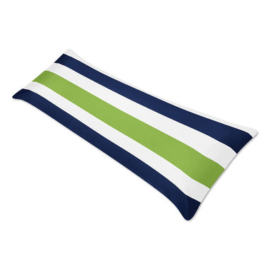 Sweet Jojo Designs - Blue/ Lime Green/ White Stripe Full Length Double Zippered Body Pillow Case Cove - Bring bold,preppy color to your bedroom or living area with this eye-catching striped body pillow cover by Sweet Jojo Designs. Crafted with soft,brushed microfiber,this body pillow case will brighten any space with a navy,lime green and white pattern.