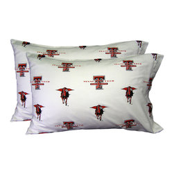 College Covers - NCAA Texas Tech Red Raiders Pillowcases Two-Pack White Set - Features: